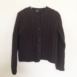 J Crew 100% Wool Chunky Cable Knit Cardigan Sz M